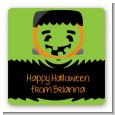 Jack O Lantern Frankenstein - Square Personalized Halloween Sticker Labels thumbnail