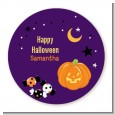 Jack O Lantern - Round Personalized Halloween Sticker Labels thumbnail