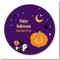 Jack O Lantern - Round Personalized Halloween Sticker Labels
