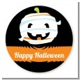 Jack O Lantern Mummy - Round Personalized Halloween Sticker Labels thumbnail