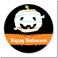 Jack O Lantern Mummy - Round Personalized Halloween Sticker Labels