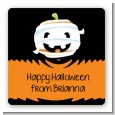 Jack O Lantern Mummy - Square Personalized Halloween Sticker Labels thumbnail