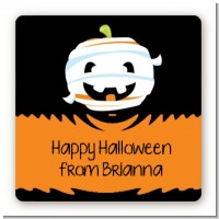 Jack O Lantern Mummy - Square Personalized Halloween Sticker Labels