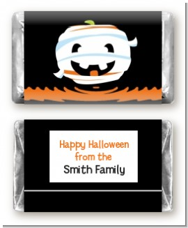 Jack O Lantern Mummy - Personalized Halloween Mini Candy Bar Wrappers