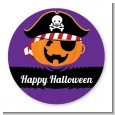 Jack O Lantern Pirate - Round Personalized Halloween Sticker Labels thumbnail