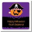 Jack O Lantern Pirate - Square Personalized Halloween Sticker Labels thumbnail