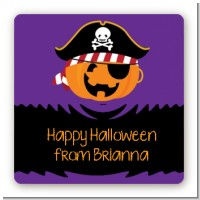 Jack O Lantern Pirate - Square Personalized Halloween Sticker Labels