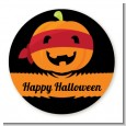 Jack O Lantern Superhero - Round Personalized Halloween Sticker Labels thumbnail