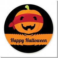 Jack O Lantern Superhero - Round Personalized Halloween Sticker Labels