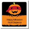 Jack O Lantern Superhero - Square Personalized Halloween Sticker Labels thumbnail