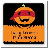 Jack O Lantern Superhero - Square Personalized Halloween Sticker Labels