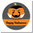 Jack O Lantern Vampire - Round Personalized Halloween Sticker Labels thumbnail