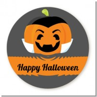 Jack O Lantern Vampire - Round Personalized Halloween Sticker Labels