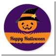 Jack O Lantern Witch - Round Personalized Halloween Sticker Labels thumbnail