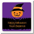 Jack O Lantern Witch - Square Personalized Halloween Sticker Labels thumbnail