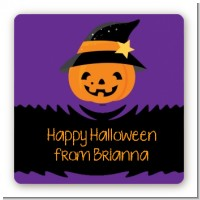Jack O Lantern Witch - Square Personalized Halloween Sticker Labels