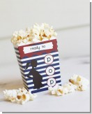 Ready To Pop Navy Blue Stripes and Red - Baby Shower Popcorn Boxes