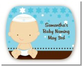 Jewish Baby Boy - Personalized Baby Shower Rounded Corner Stickers