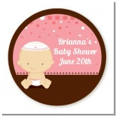 Jewish Baby Girl - Round Personalized Baby Shower Sticker Labels