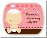 Jewish Baby Girl - Personalized Baby Shower Rounded Corner Stickers