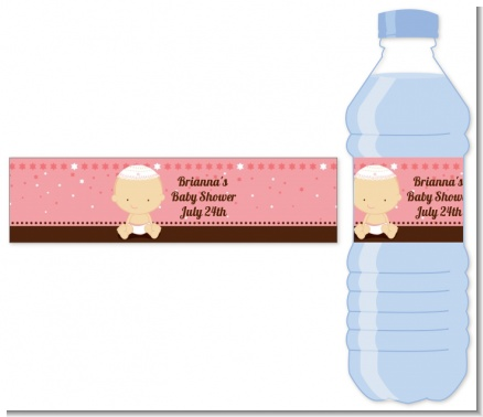 Jewish Baby Girl - Personalized Baby Shower Water Bottle Labels