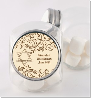 Jewish Star of David Brown & Beige - Personalized Bar / Bat Mitzvah Candy Jar