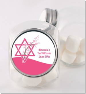 Jewish Star of David Cherry Blossom - Personalized Bar / Bat Mitzvah Candy Jar