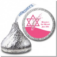 Jewish Star of David Cherry Blossom - Hershey Kiss Bar / Bat Mitzvah Sticker Labels