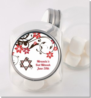 Jewish Star Of David Floral Blossom - Personalized Bar / Bat Mitzvah Candy Jar