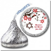 Jewish Star Of David Floral Blossom - Hershey Kiss Bar / Bat Mitzvah Sticker Labels