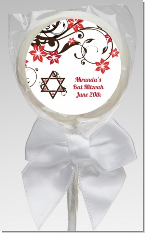 Jewish Star Of David Floral Blossom - Personalized Bar / Bat Mitzvah Lollipop Favors
