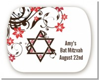 Jewish Star Of David Floral Blossom - Personalized Bar / Bat Mitzvah Rounded Corner Stickers