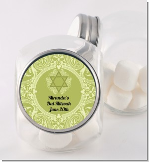 Jewish Star of David Sage Green - Personalized Bar / Bat Mitzvah Candy Jar