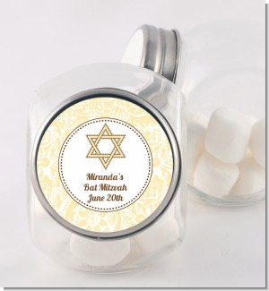 Jewish Star of David Yellow & Brown - Personalized Bar / Bat Mitzvah Candy Jar