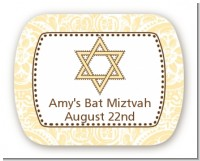 Jewish Star of David Yellow & Brown - Personalized Bar / Bat Mitzvah Rounded Corner Stickers