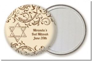 Jewish Star of David Brown & Beige - Personalized Bar / Bat Mitzvah Pocket Mirror Favors