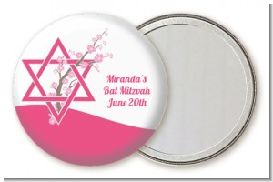 Jewish Star of David Cherry Blossom - Personalized Bar / Bat Mitzvah Pocket Mirror Favors