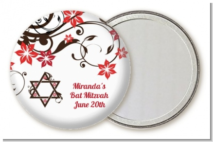 Jewish Star Of David Floral Blossom - Personalized Bar / Bat Mitzvah Pocket Mirror Favors
