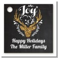 Joy Oh Deer Gold Glitter - Personalized Christmas Card Stock Favor Tags thumbnail