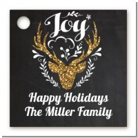 Joy Oh Deer Gold Glitter - Personalized Christmas Card Stock Favor Tags