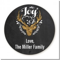 Joy Oh Deer Gold Glitter - Round Personalized Christmas Sticker Labels
