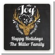 Joy Oh Deer Gold Glitter - Square Personalized Christmas Sticker Labels thumbnail