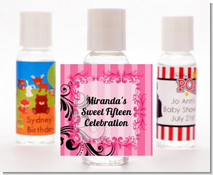 Juicy Couture Inspired - Personalized Birthday Party Hand Sanitizers Favors