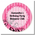 Juicy Couture Inspired - Round Personalized Birthday Party Sticker Labels thumbnail