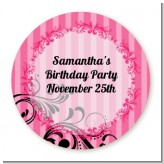 Juicy Couture Inspired - Round Personalized Birthday Party Sticker Labels