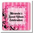 Juicy Couture Inspired - Square Personalized Birthday Party Sticker Labels thumbnail