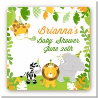 Jungle Party - Square Personalized Baby Shower Sticker Labels