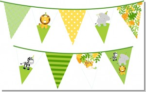 Jungle Party - Baby Shower Themed Pennant Set