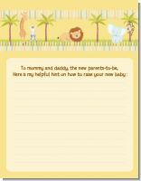 Jungle Safari Party - Baby Shower Notes of Advice