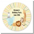 Jungle Safari Party - Round Personalized Birthday Party Sticker Labels thumbnail
